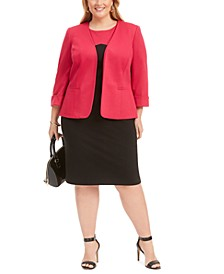 Plus Size Colorblocked Sheath Dress & Cuffed Jacket