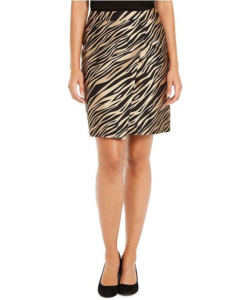 Anne Klein Faux-Wrap Jacquard Skirt