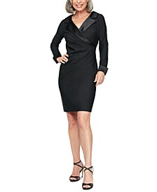 Satin-Trim Sheath Dress