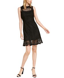 Petite Crochet-Lace Ruffled-Hem Dress