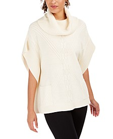 Cowl-Neck Mixed-Stitch Poncho Sweater