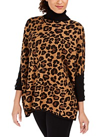 Turtleneck Cheetah Print Pullover Sweater