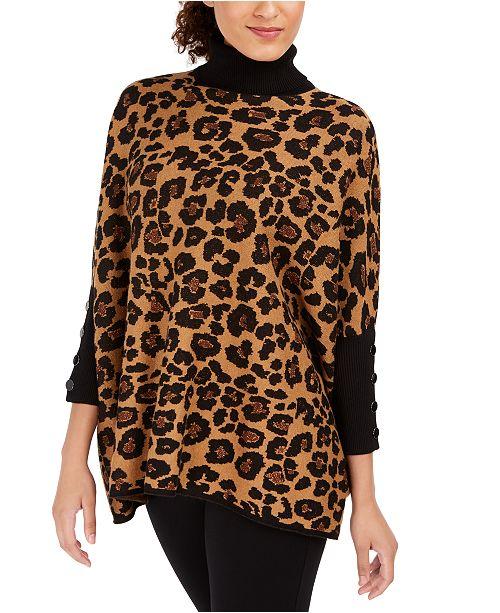 Anne Klein Turtleneck Cheetah Print Pullover Sweater