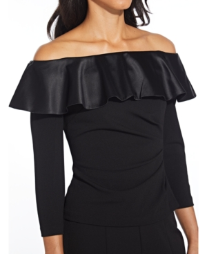 Adrianna Papell Tops RUFFLED OFF-THE-SHOULDER TOP