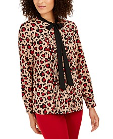 Printed Tie-Neck Pleated Top