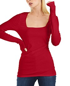 INC Square-Neck Ribbed Top, Created for Macy's