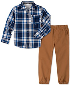 Little Boys 2-Pc. Plaid Shirt & Twill Joggers Set