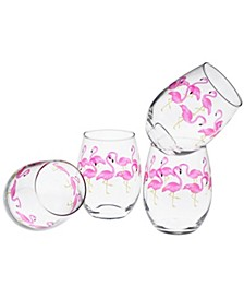 Flamingos Stemless Wine Glass 15-Ounce Set of 4