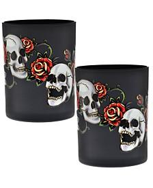Skull & Rose DOF Glass 14-Ounce Set of 2