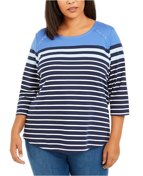 Karen Scott Plus Size Scoop-Neck Striped Top, Created for Macy's