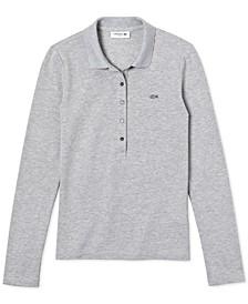 Long-Sleeve Slim-Fit Stretch Pique Polo Shirt