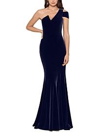 Velvet One-Shoulder Gown