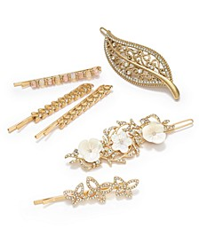 Gold-Tone Crystal Leaf Hair Barrette, Pavé & Mother-of-Pearl Flower Hair Barrette & Bobby Pins