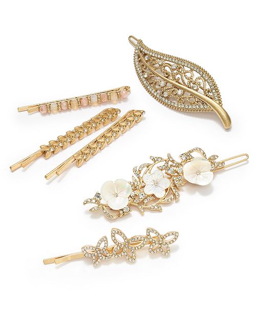 lonna & lilly Gold-Tone Crystal Leaf Hair Barrette, Pavé & Mother-of-Pearl Flower Hair Barrette & Bobby Pin Hair Accessories