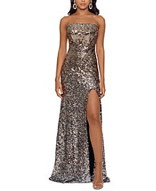 Strapless Sequined Slit Gown