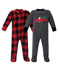 Girl and Boy Fleece Sleep and Play 2 Pack
