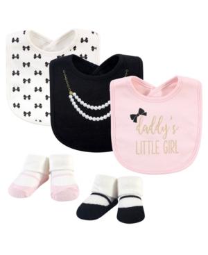 Little Treasure Baby Girl 5-piece Bib And Sock Set In Black