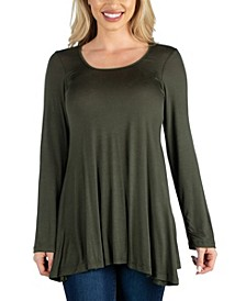 Long Sleeve Solid Color Swing Style Flared Tunic Top