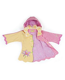 Little Girl with Comfy Lotus Flowers Raincoat