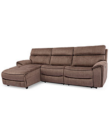 Hutchenson 3-Pc. Fabric Chaise Sectional with Power Recliner and Power Headrest