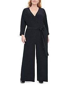 Plus Size Surplice Wide-Leg Jumpsuit