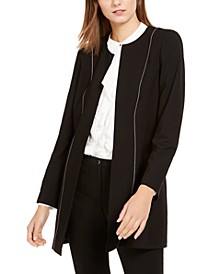 Seamed Open-Front Topper Jacket