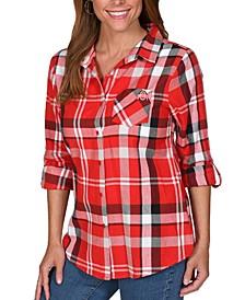 UG Apparel Women's Ohio State Buckeyes Flannel Boyfriend Plaid Button Up Shirt