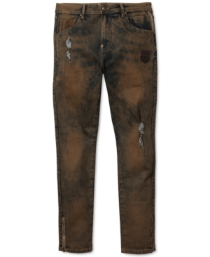 Born Fly Men's Farms Big & Tall Slim-Straight Stretch Destroyed Jeans