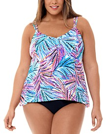 Plus Size High-Low Tankini Top & Bottoms, Created for Macy's