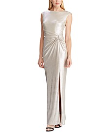 Metallic Sleeveless Side-Slit Gown