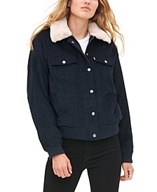 Women'sFaux Fur Collar Corduroy Trucker Bomber Jacket