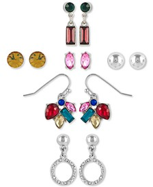 6-Pc. Set Silver-Tone & Crystal Multicolor Earrings
