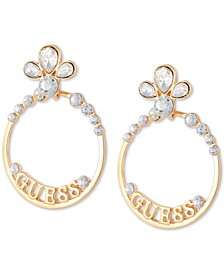 Gold-Tone Crystal & Logo Front-Facing Medium Hoop Earrings, 2""