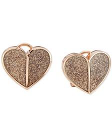 Glitter Heart Button Earrings