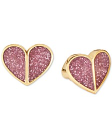 Gold-Tone Pink Glitter Heart Stud Earrings