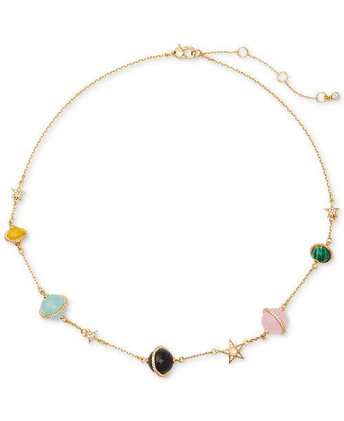 """kate spade new york Gold-Tone Stone & Star Beaded Necklace, 15"""" + 3"""" extender"""
