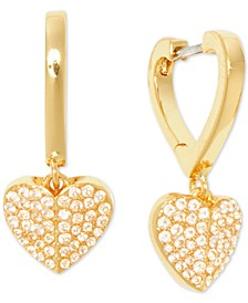 Gold-Tone Crystal Pavé Heart Drop Earrings