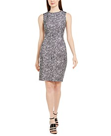 Sleeveless Python-Print Sheath Dress