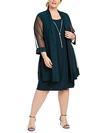 Plus Size Jacket & Necklace Dress