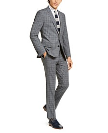 Men's Slim-Fit Stretch Charcoal Plaid Suit Separates