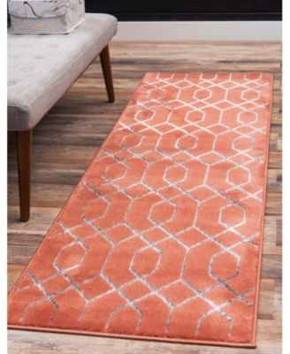 Glam Mmg001 Coral/Silver 2' x 6' Runner Rug