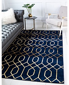 Glam Mmg001 Navy Blue/Gold 4' x 6' Area Rug