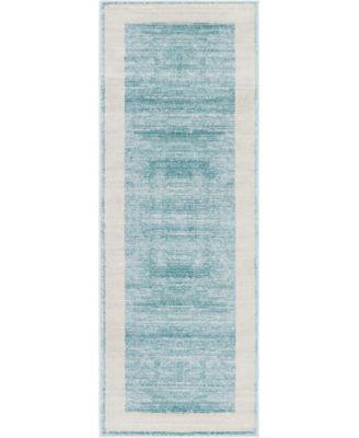 "Yorkville Uptown Jzu007 Turquoise 2'2"" x 6' Runner Rug"