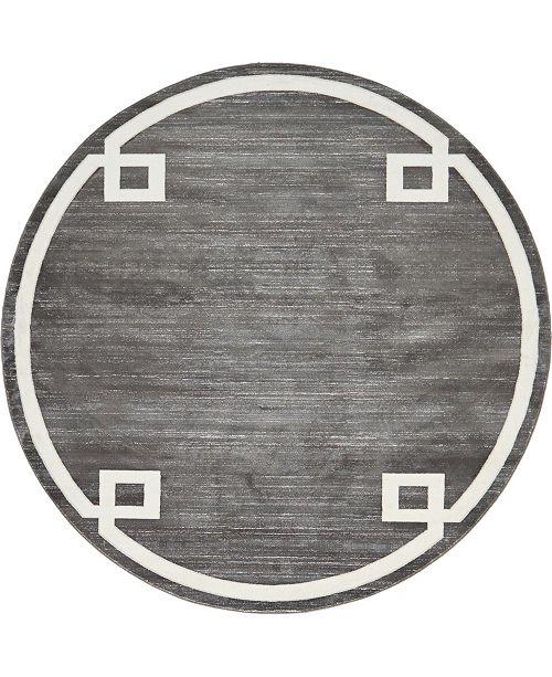 Jill Zarin Lenox Hill Uptown Jzu005 Gray 8' x 8' Round Rug