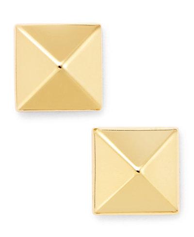 14k Gold Earrings, 8mm Pyramid Stud Earrings