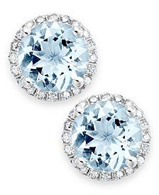 Aquamarine (2 ct. t.w.) and Diamond (1/5 ct. t.w.) Stud Earrings in 14k White Gold