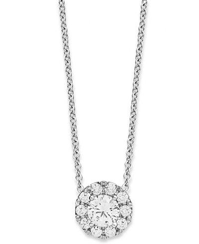Diamond halo pendant necklace in 14k white gold 13 ct tw diamond halo pendant necklace in 14k white gold 13 ct tw aloadofball Gallery