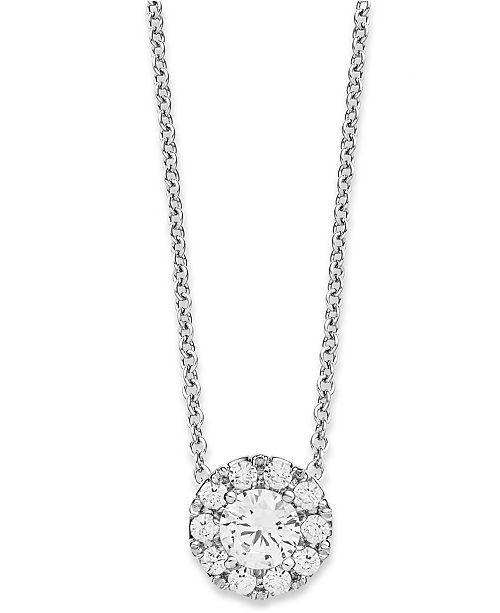 Brand-new Macy's Diamond Halo Pendant Necklace in 14k White Gold (1/3 ct  LG89