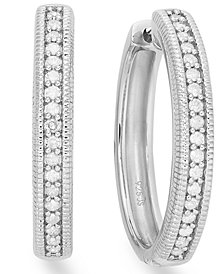 Diamond Hoop Earrings in Sterling Silver (1/4 ct. tw.)