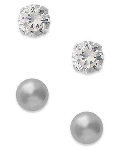 10k White Gold Earrings, Cubic Zirconia (7/8 ct. t.w.) and Ball Stud Earrings